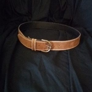 Accessories - Brown suede belt with white stitching